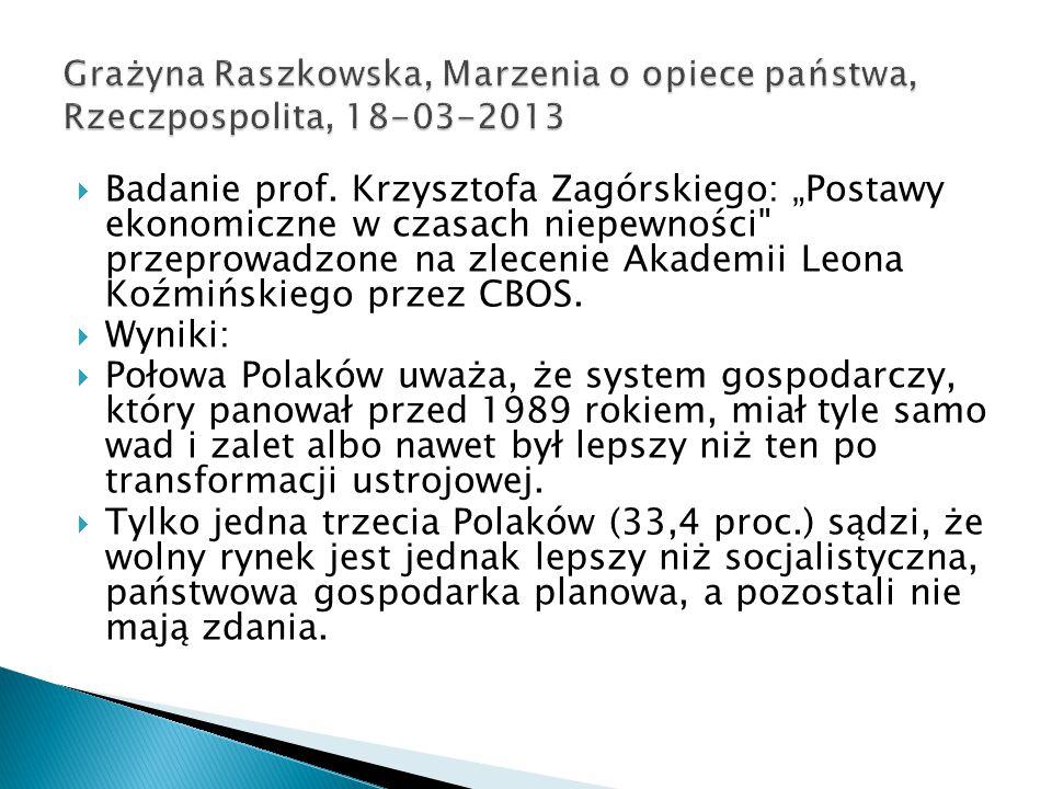  Polacy oczekują bezpieczeństwa socjalnego od strony państwa i spodziewają się, że będzie ono spełniać opiekuńczą rolę.