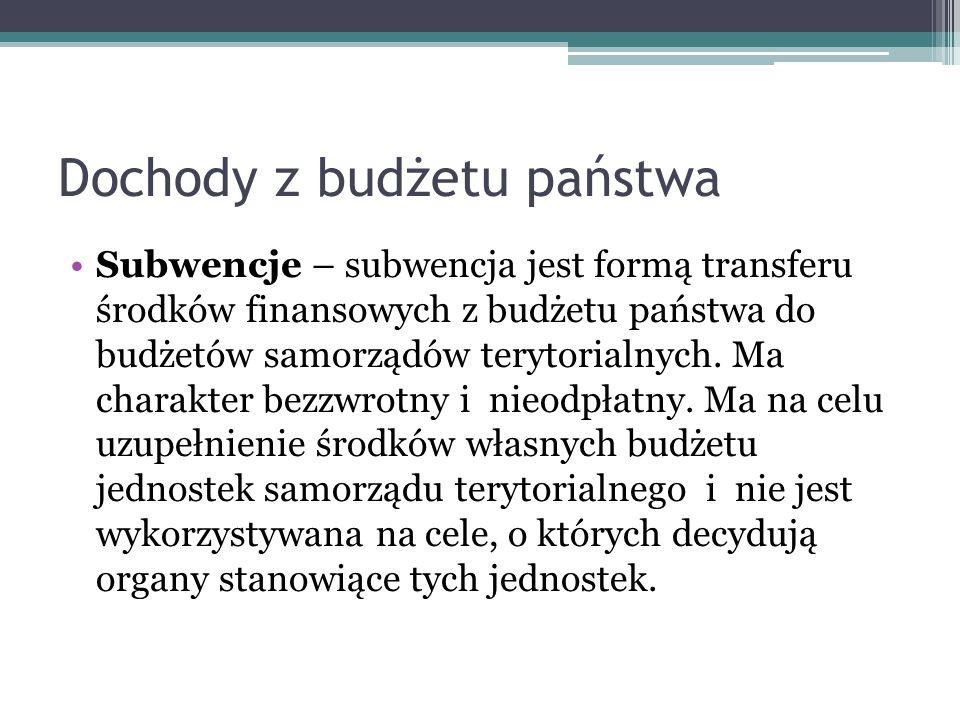 Dochody z budżetu państwa Subwencje – subwencja jest formą transferu środków finansowych z budżetu państwa do budżetów samorządów terytorialnych. Ma c