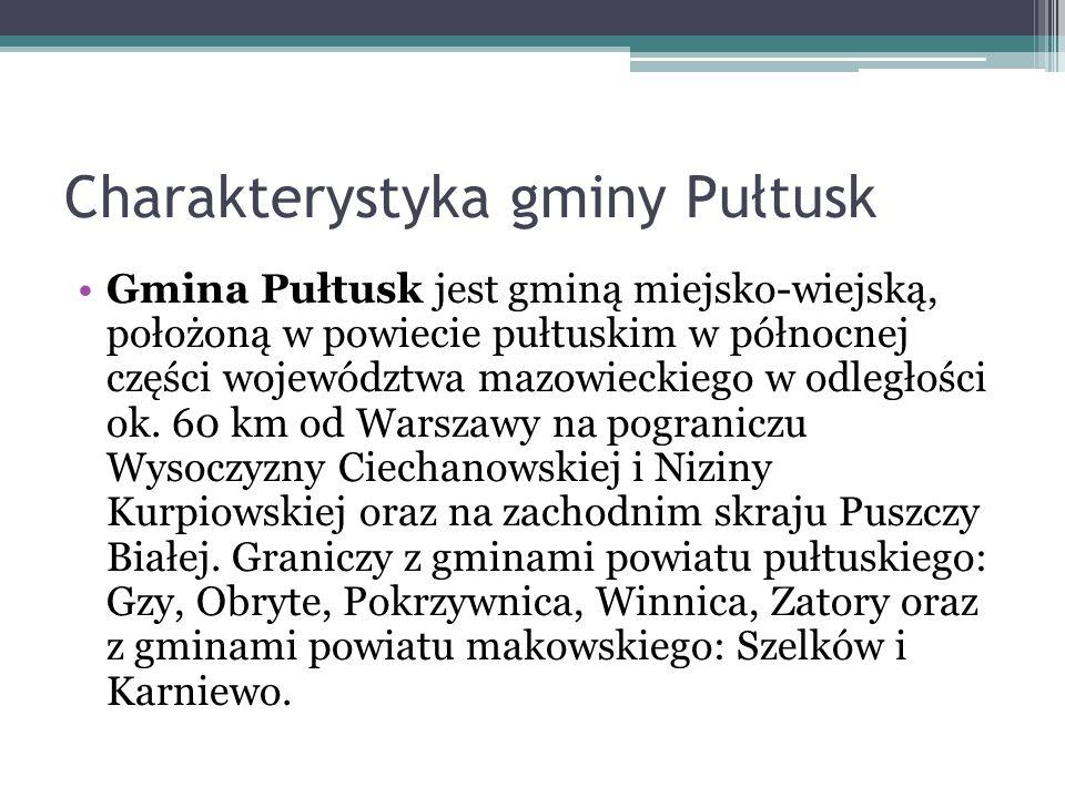 Charakterystyka gminy Pułtusk Gmina Pułtusk jest gminą miejsko-wiejską, położoną w powiecie pułtuskim w północnej części województwa mazowieckiego w o