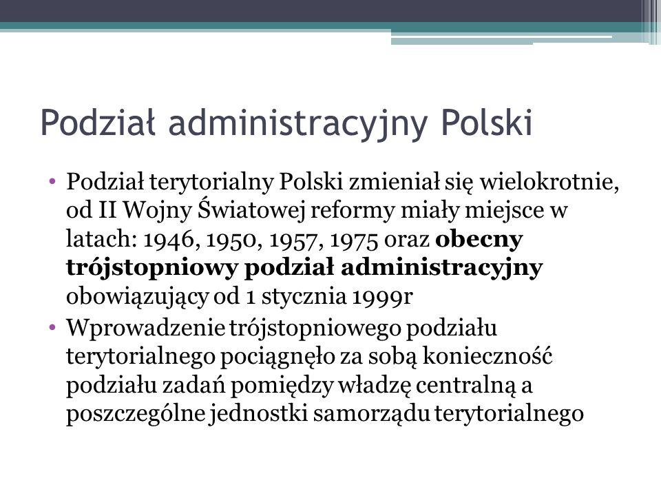 Podział administracyjny Polski Podział terytorialny Polski zmieniał się wielokrotnie, od II Wojny Światowej reformy miały miejsce w latach: 1946, 1950