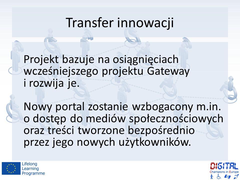 Transfer innowacji Projekt bazuje na osiągnięciach wcześniejszego projektu Gateway i rozwija je.