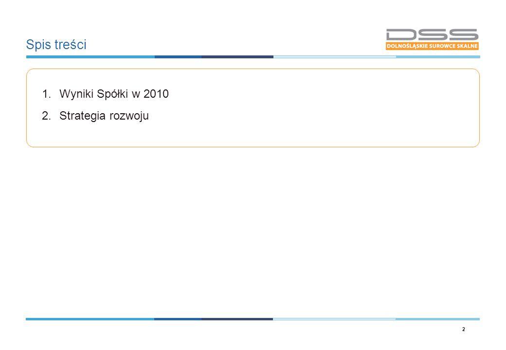 Spis treści 1.Wyniki Spółki w 2010 2.Strategia rozwoju 2