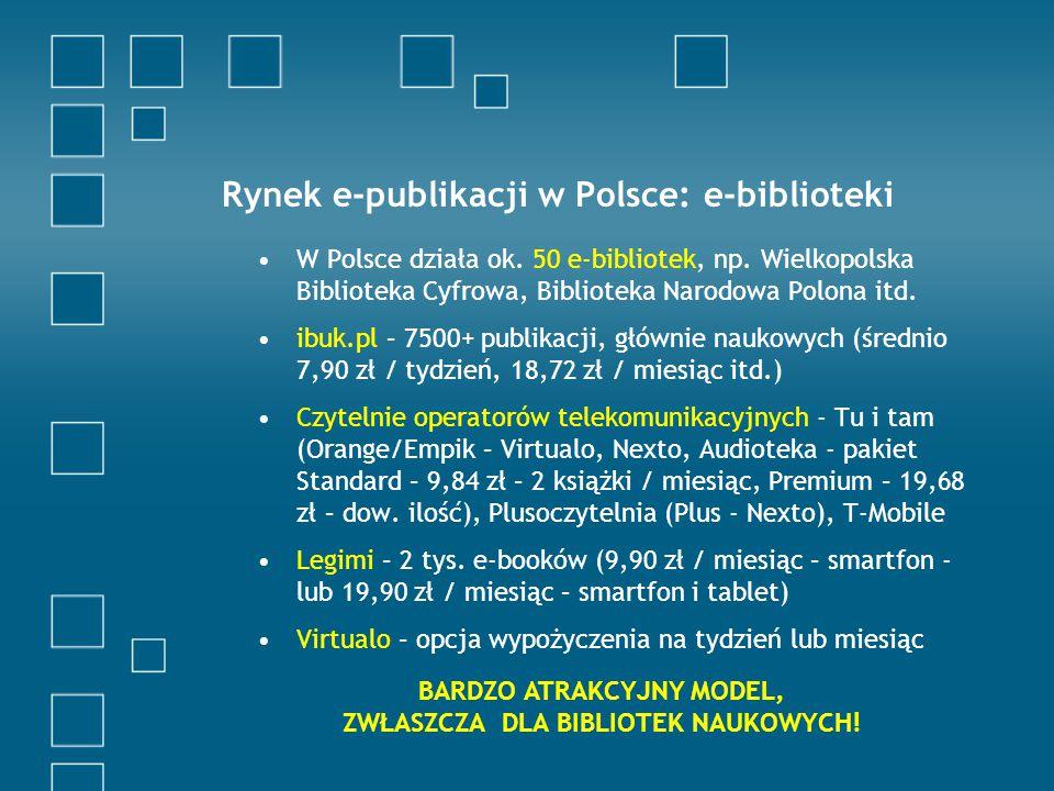 Rynek e-publikacji w Polsce: e-biblioteki W Polsce działa ok.