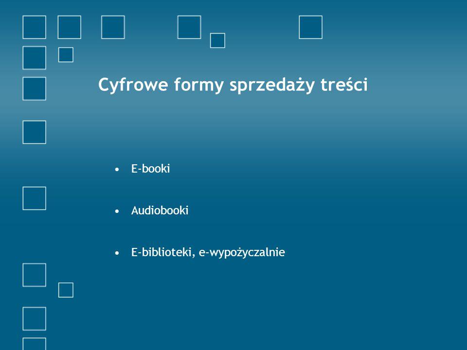 E-booki Audiobooki E-biblioteki, e-wypożyczalnie Cyfrowe formy sprzedaży treści