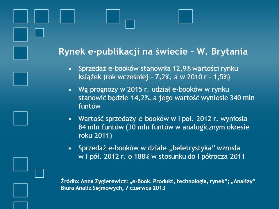 Rynek e-publikacji na świecie – Niemcy W 2010 r.sprzedano 2 mln e-booków, w 2011 r.