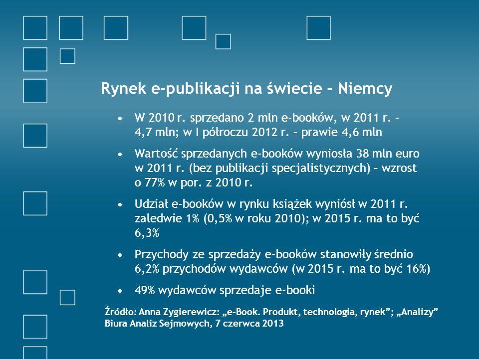 Rynek e-publikacji na świecie – Niemcy W 2010 r. sprzedano 2 mln e-booków, w 2011 r.