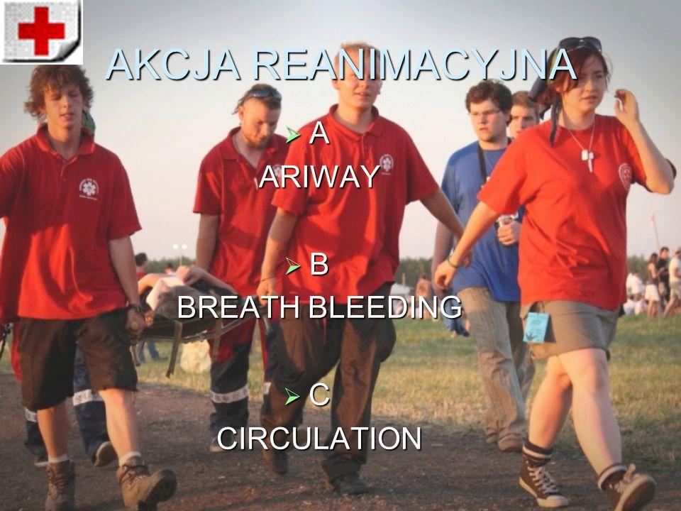 AKCJA REANIMACYJNA  A ARIWAY  B BREATH BLEEDING  C CIRCULATION