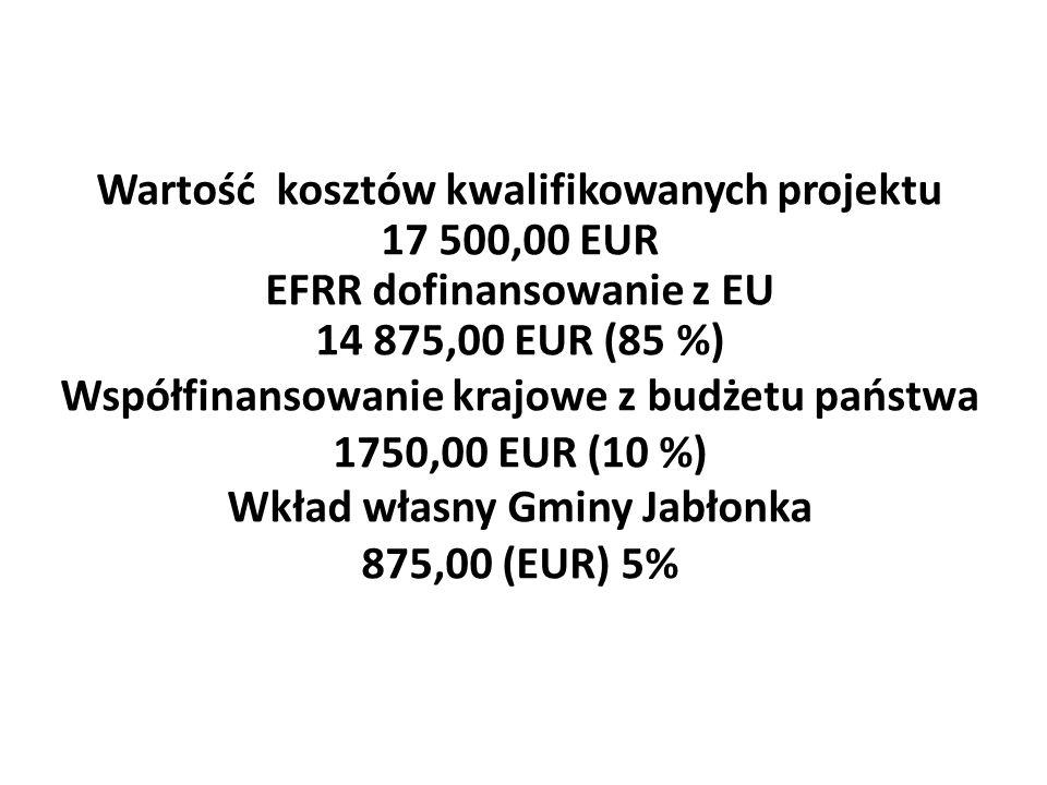 Wartość kosztów kwalifikowanych projektu 17 500,00 EUR EFRR dofinansowanie z EU 14 875,00 EUR (85 %) Współfinansowanie krajowe z budżetu państwa 1750,00 EUR (10 %) Wkład własny Gminy Jabłonka 875,00 (EUR) 5%