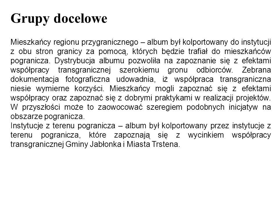Grupy docelowe Mieszkańcy regionu przygranicznego – album był kolportowany do instytucji z obu stron granicy za pomocą, których będzie trafiał do mieszkańców pogranicza.