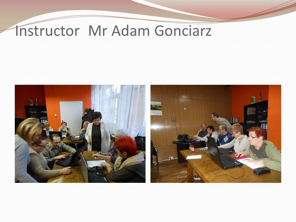 Instructor Mr Adam Gonciarz
