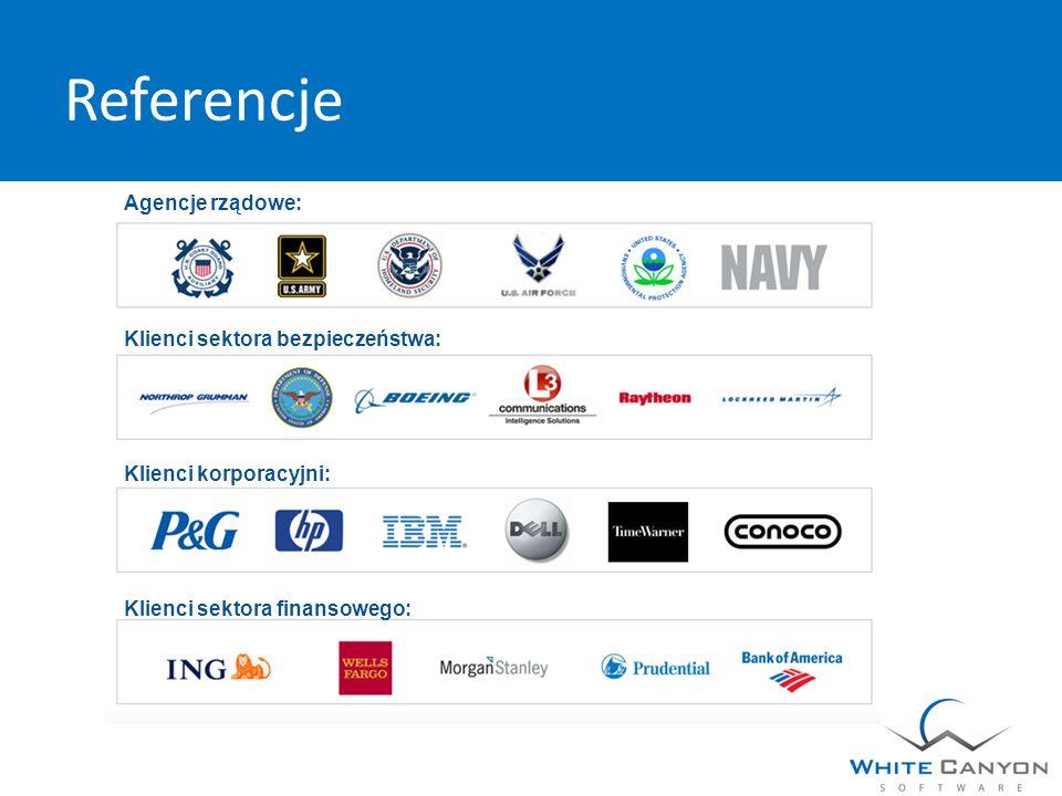 Referencje Agencje rządowe: Klienci sektora bezpieczeństwa: Klienci korporacyjni: Klienci sektora finansowego: