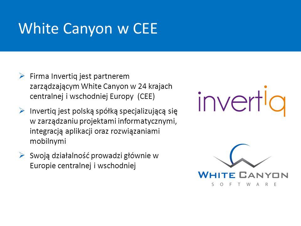 White Canyon w CEE ✔ ✔ ✔  Firma Invertiq jest partnerem zarządzającym White Canyon w 24 krajach centralnej i wschodniej Europy (CEE)  Invertiq jest polską spółką specjalizującą się w zarządzaniu projektami informatycznymi, integracją aplikacji oraz rozwiązaniami mobilnymi  Swoją działalność prowadzi głównie w Europie centralnej i wschodniej