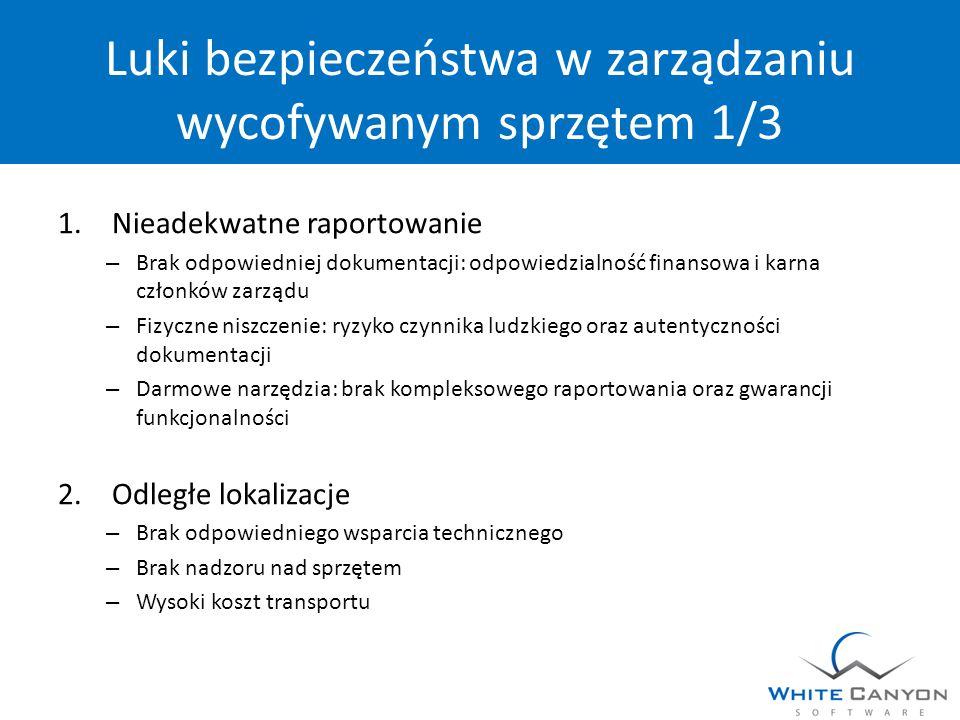 Luki bezpieczeństwa w zarządzaniu wycofywanym sprzętem 1/3 1.Nieadekwatne raportowanie – Brak odpowiedniej dokumentacji: odpowiedzialność finansowa i karna członków zarządu – Fizyczne niszczenie: ryzyko czynnika ludzkiego oraz autentyczności dokumentacji – Darmowe narzędzia: brak kompleksowego raportowania oraz gwarancji funkcjonalności 2.Odległe lokalizacje – Brak odpowiedniego wsparcia technicznego – Brak nadzoru nad sprzętem – Wysoki koszt transportu