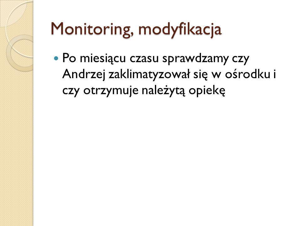 Monitoring, modyfikacja Po miesiącu czasu sprawdzamy czy Andrzej zaklimatyzował się w ośrodku i czy otrzymuje należytą opiekę