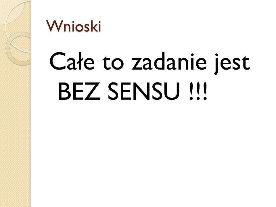 Wnioski Całe to zadanie jest BEZ SENSU !!!