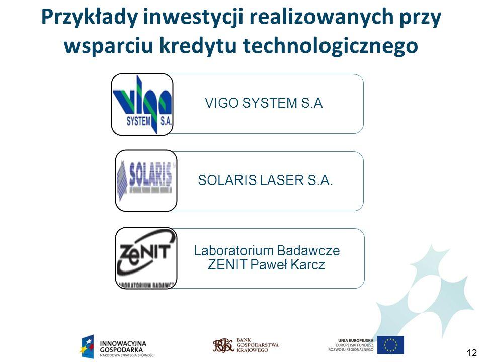 12 Przykłady inwestycji realizowanych przy wsparciu kredytu technologicznego VIGO SYSTEM S.A.SOLARIS LASER S.A.