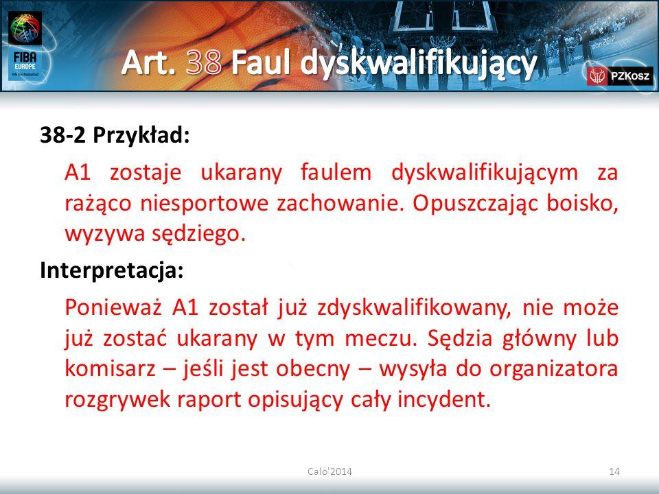 Calo 201414 38-2 Przykład: A1 zostaje ukarany faulem dyskwalifikującym za rażąco niesportowe zachowanie.
