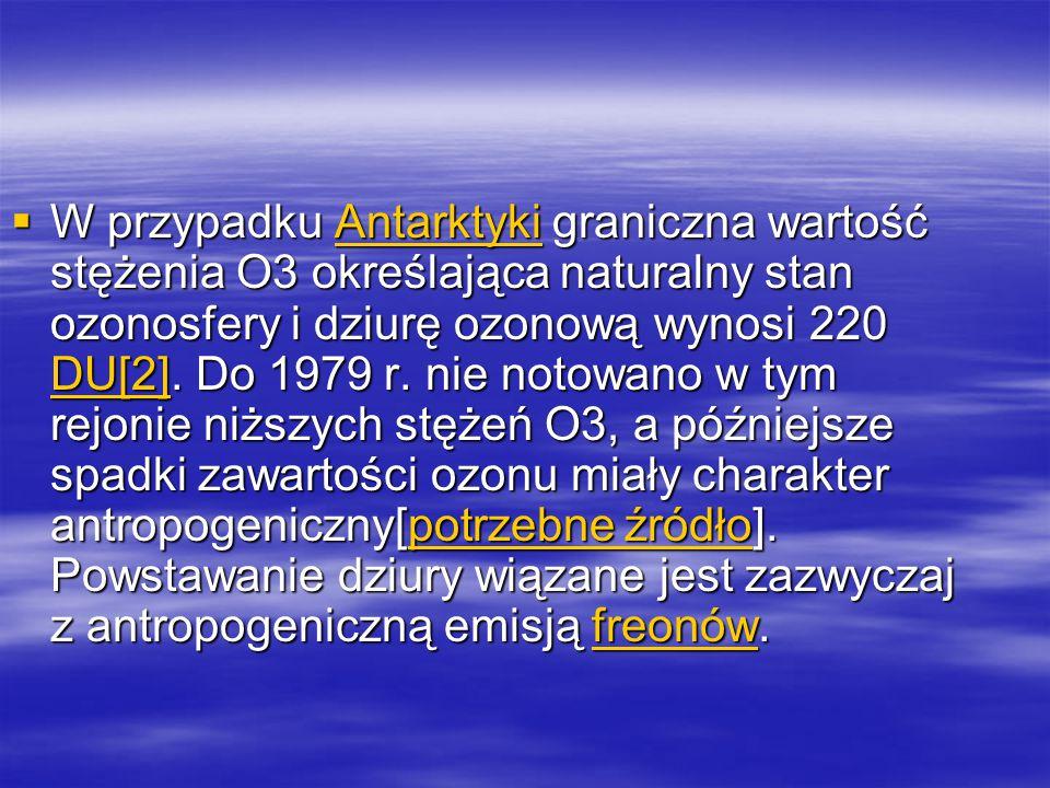  W przypadku Antarktyki graniczna wartość stężenia O3 określająca naturalny stan ozonosfery i dziurę ozonową wynosi 220 DU[2]. Do 1979 r. nie notowan