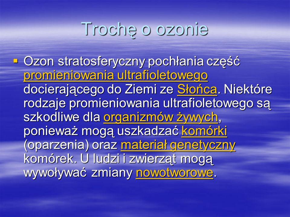 Trochę o ozonie  Ozon stratosferyczny pochłania część promieniowania ultrafioletowego docierającego do Ziemi ze Słońca. Niektóre rodzaje promieniowan