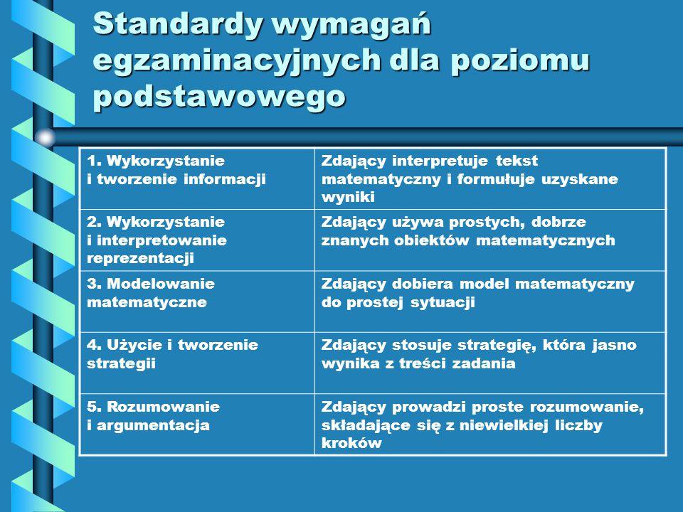 Zdający posiada umiejętności w zakresie : Standardy wymagań egzaminacyjnych 1.Wykorzystania i tworzenia informacji 2.Wykorzystania i interpretowania reprezentacji 3.Modelowania matematycznego 4.Użycia i tworzenia strategii 5.Rozumowania i argumentacji