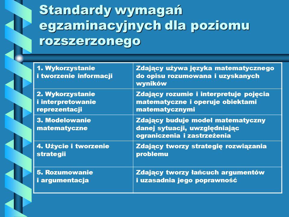 Standardy wymagań egzaminacyjnych dla poziomu podstawowego 1. Wykorzystanie i tworzenie informacji Zdający interpretuje tekst matematyczny i formułuje