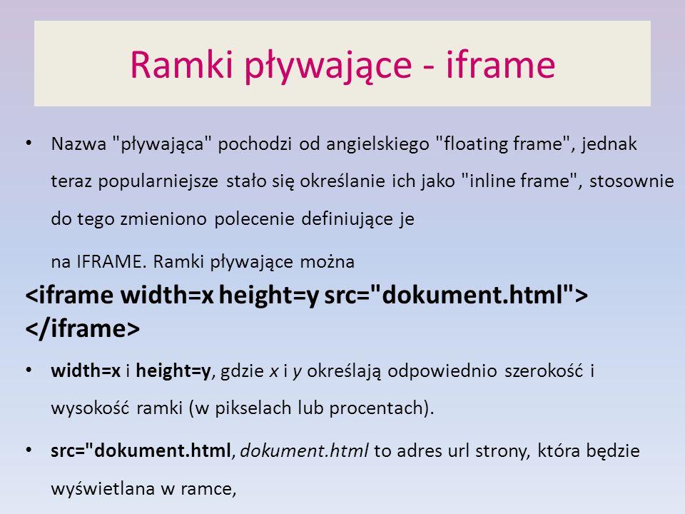 Ramki pływające - iframe Nazwa pływająca pochodzi od angielskiego floating frame , jednak teraz popularniejsze stało się określanie ich jako inline frame , stosownie do tego zmieniono polecenie definiujące je na IFRAME.