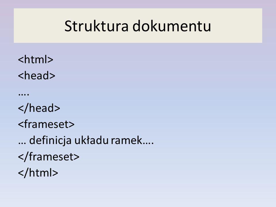 Struktura dokumentu …. … definicja układu ramek….