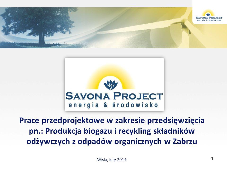Prace przedprojektowe w zakresie przedsięwzięcia pn.: Produkcja biogazu i recykling składników odżywczych z odpadów organicznych w Zabrzu Wisła, luty
