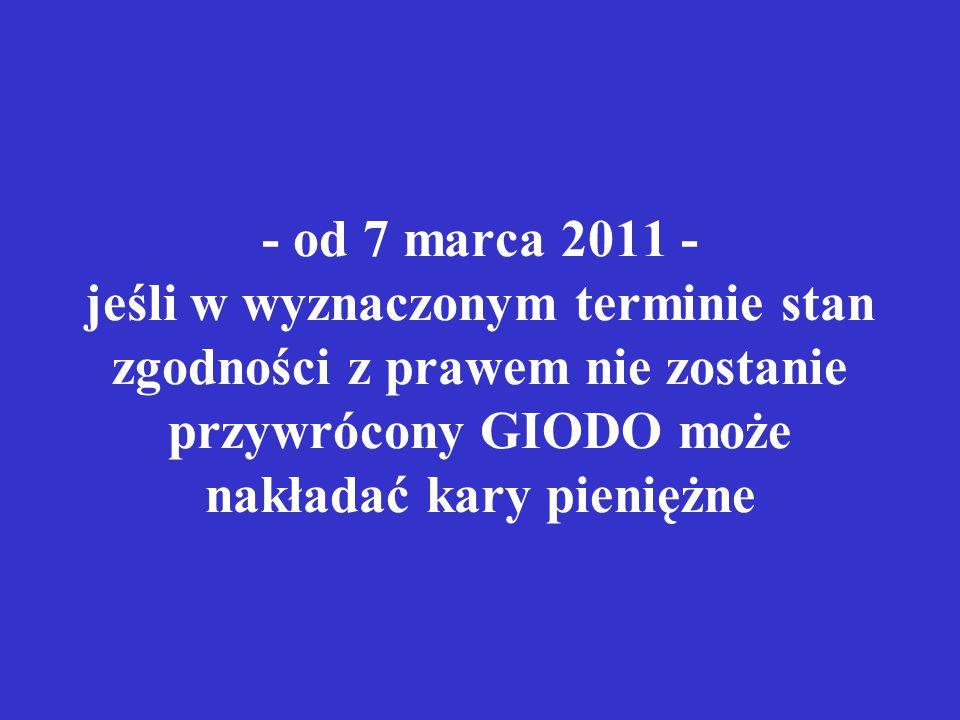 - od 7 marca 2011 - jeśli w wyznaczonym terminie stan zgodności z prawem nie zostanie przywrócony GIODO może nakładać kary pieniężne