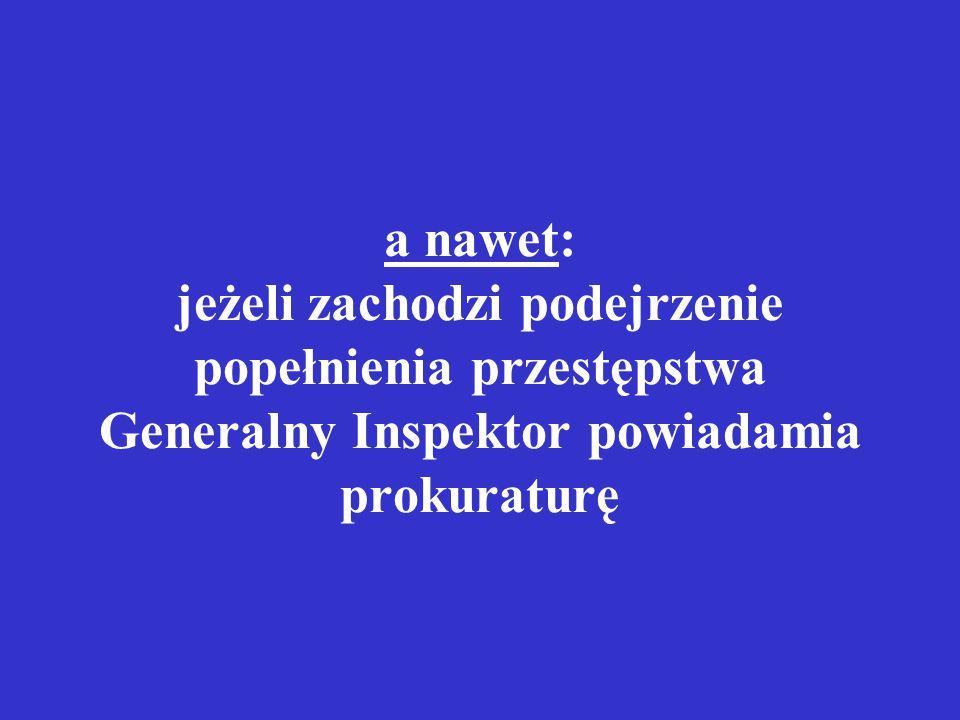 a nawet: jeżeli zachodzi podejrzenie popełnienia przestępstwa Generalny Inspektor powiadamia prokuraturę