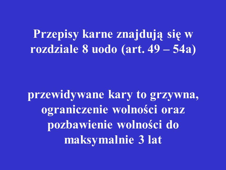 Przepisy karne znajdują się w rozdziale 8 uodo (art.
