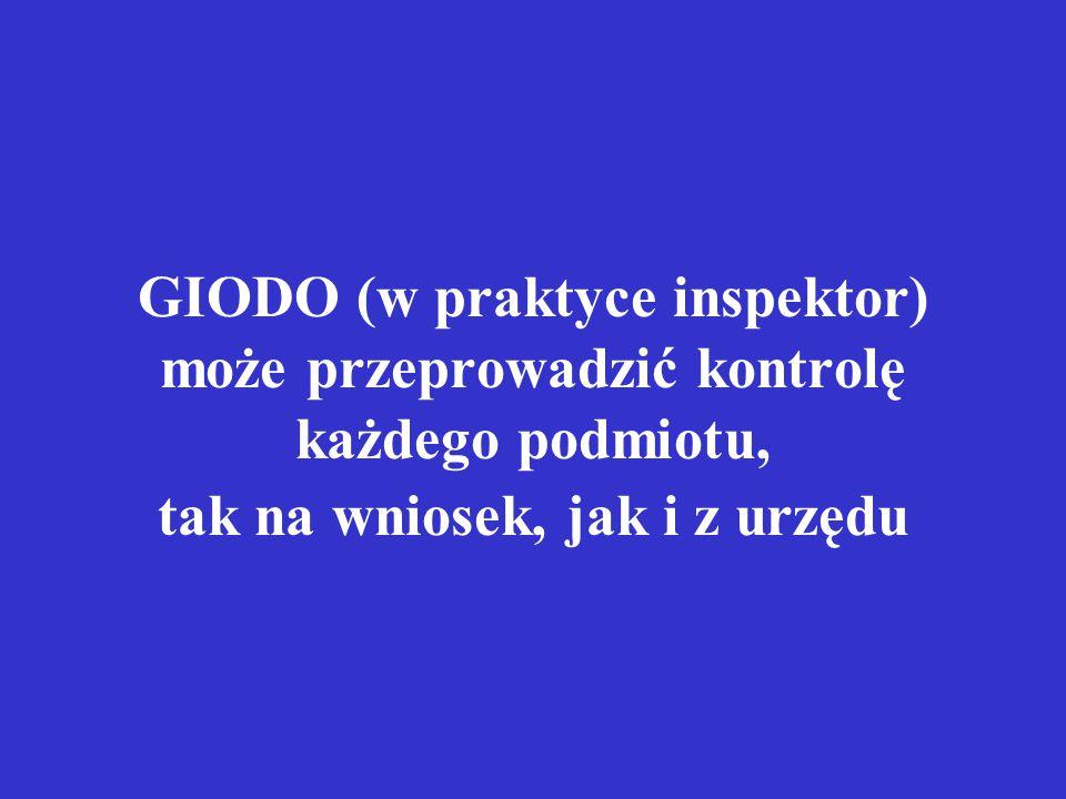 GIODO (w praktyce inspektor) może przeprowadzić kontrolę każdego podmiotu, tak na wniosek, jak i z urzędu