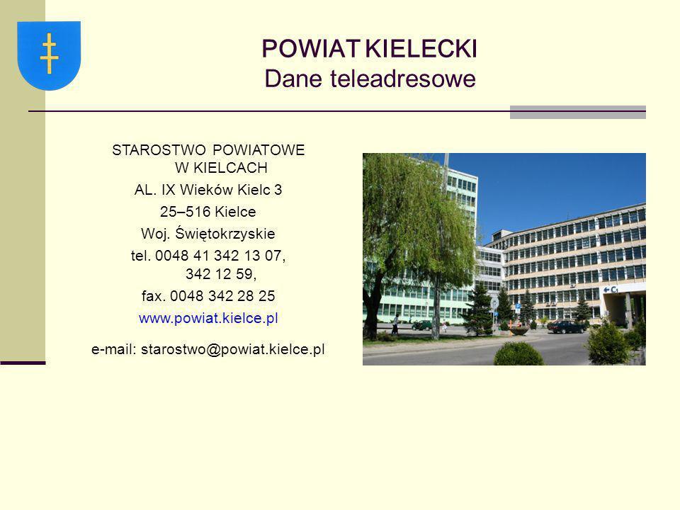 POWIAT KIELECKI Dane teleadresowe STAROSTWO POWIATOWE W KIELCACH AL. IX Wieków Kielc 3 25–516 Kielce Woj. Świętokrzyskie tel. 0048 41 342 13 07, 342 1