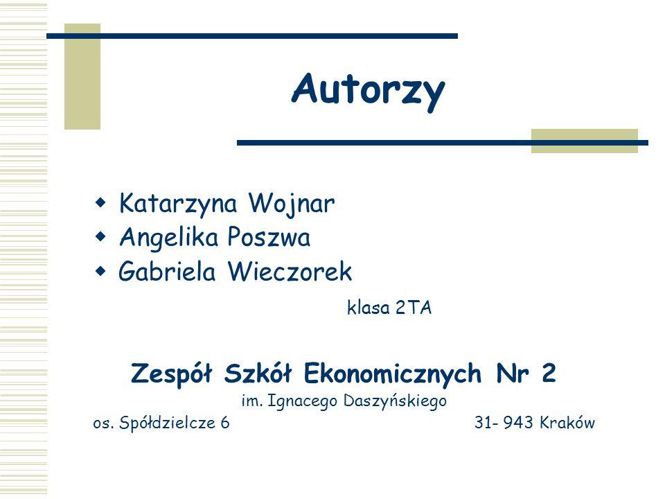 Autorzy  Katarzyna Wojnar  Angelika Poszwa  Gabriela Wieczorek klasa 2TA Zespół Szkół Ekonomicznych Nr 2 im.