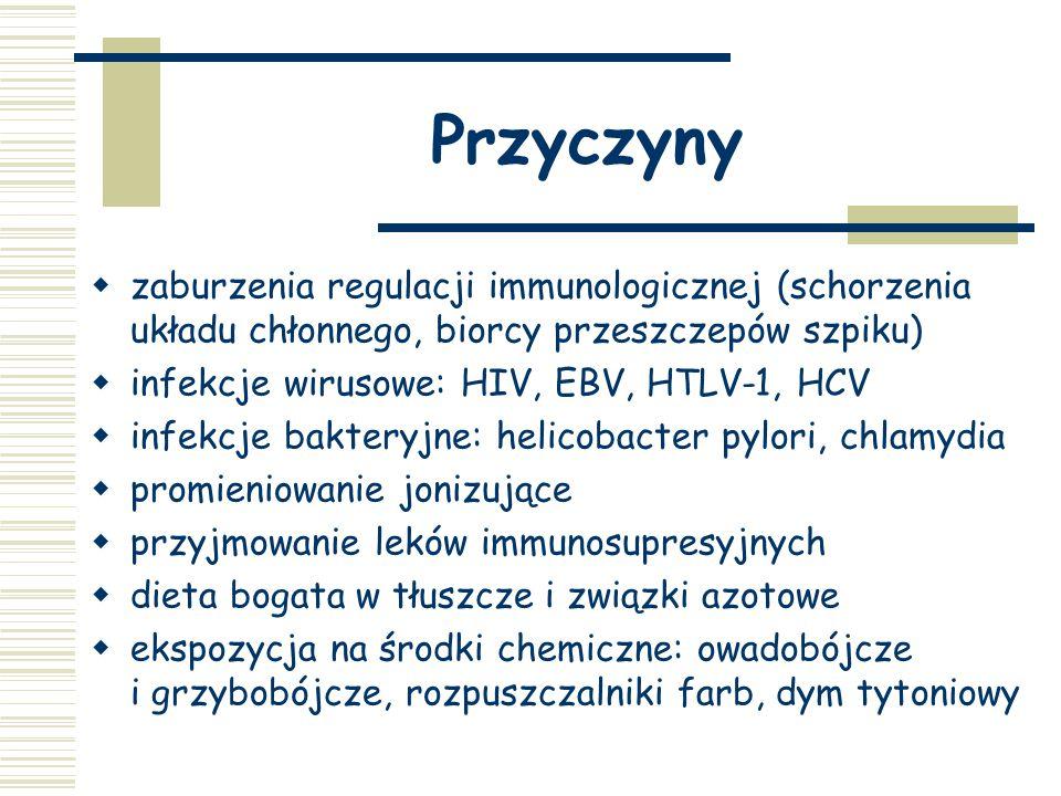Przyczyny  zaburzenia regulacji immunologicznej (schorzenia układu chłonnego, biorcy przeszczepów szpiku)  infekcje wirusowe: HIV, EBV, HTLV-1, HCV  infekcje bakteryjne: helicobacter pylori, chlamydia  promieniowanie jonizujące  przyjmowanie leków immunosupresyjnych  dieta bogata w tłuszcze i związki azotowe  ekspozycja na środki chemiczne: owadobójcze i grzybobójcze, rozpuszczalniki farb, dym tytoniowy