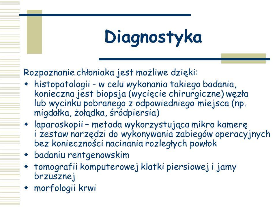 Diagnostyka Rozpoznanie chłoniaka jest możliwe dzięki:  histopatologii - w celu wykonania takiego badania, konieczna jest biopsja (wycięcie chirurgiczne) węzła lub wycinku pobranego z odpowiedniego miejsca (np.
