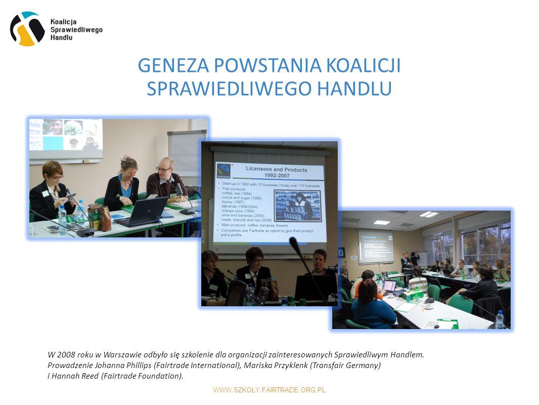 WWW.SZKOLY.FAIRTRADE.ORG.PL GENEZA POWSTANIA KOALICJI SPRAWIEDLIWEGO HANDLU  W 2008 roku w Warszawie odbyło się szkolenie dla organizacji zainteresowanych Sprawiedliwym Handlem.