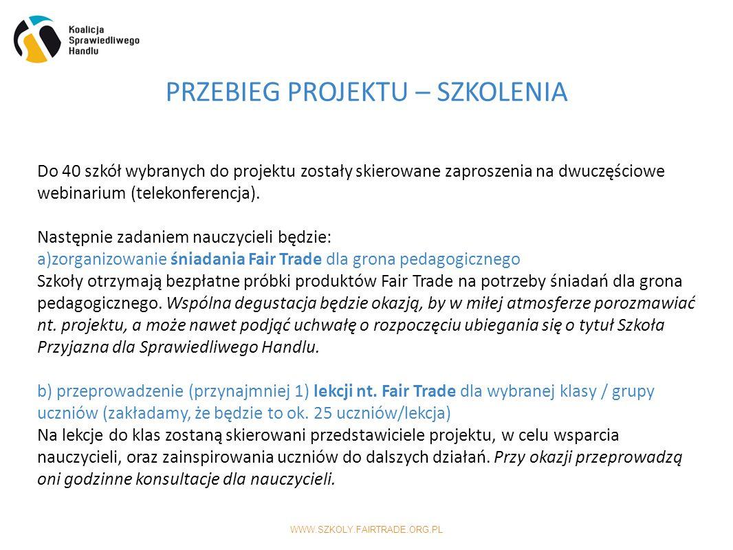 WWW.SZKOLY.FAIRTRADE.ORG.PL PRZEBIEG PROJEKTU – SZKOLENIA Do 40 szkół wybranych do projektu zostały skierowane zaproszenia na dwuczęściowe webinarium (telekonferencja).