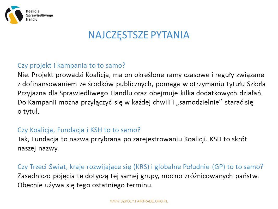 WWW.SZKOLY.FAIRTRADE.ORG.PL NAJCZĘSTSZE PYTANIA Czy projekt i kampania to to samo.