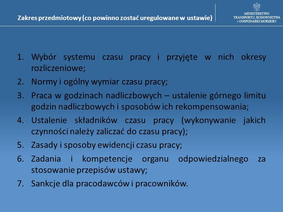 MINISTERSTWO TRANSPORTU, BUDOWNICTWA i GOSPODARKI MORSKIEJ Zakres przedmiotowy (co powinno zostać uregulowane w ustawie) 1.Wybór systemu czasu pracy i
