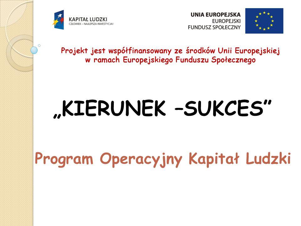 """Projekt jest współfinansowany ze środków Unii Europejskiej w ramach Europejskiego Funduszu Społecznego """"KIERUNEK –SUKCES Program Operacyjny Kapitał Ludzki"""