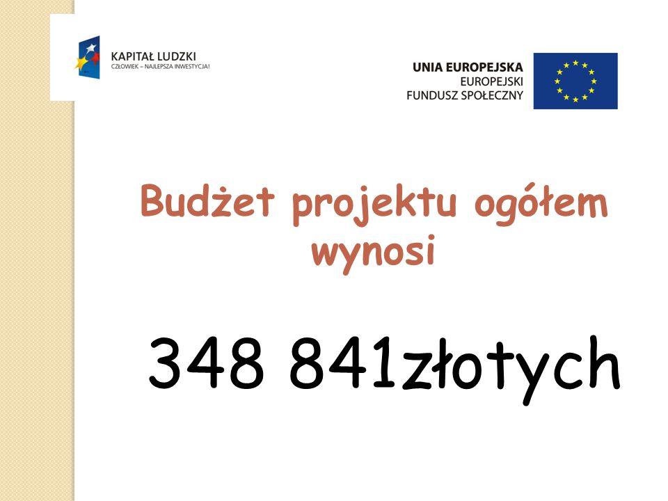 Budżet projektu ogółem wynosi 348 841złotych