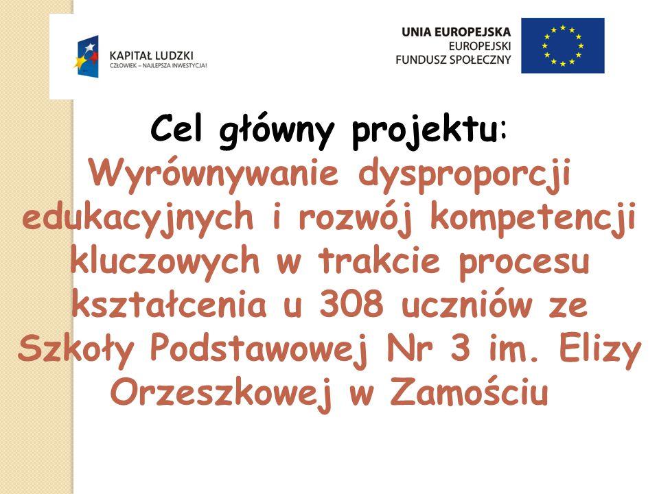 Cel główny projektu: Wyrównywanie dysproporcji edukacyjnych i rozwój kompetencji kluczowych w trakcie procesu kształcenia u 308 uczniów ze Szkoły Podstawowej Nr 3 im.