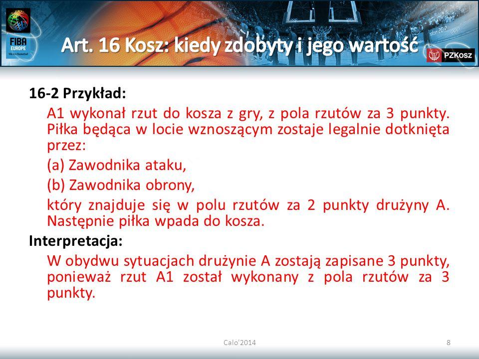 Calo 201439 29/50-42 Przykład: A1 wykonuje rzut do kosza z gry.