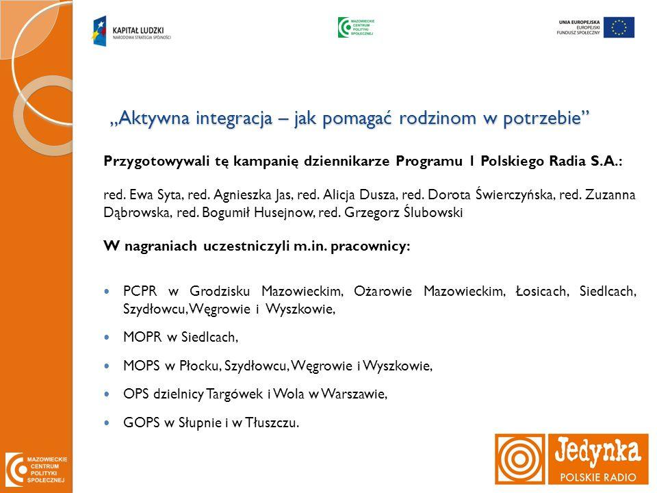 """""""Aktywna integracja – jak pomagać rodzinom w potrzebie Przygotowywali tę kampanię dziennikarze Programu 1 Polskiego Radia S.A.: red."""