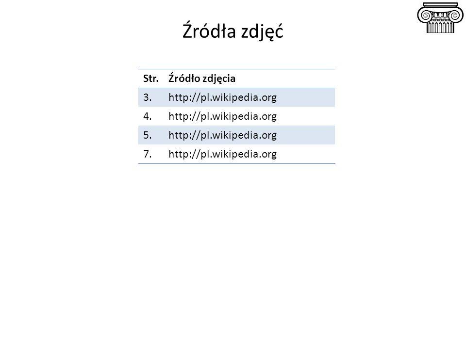 Źródła zdjęć Str.Źródło zdjęcia 3.http://pl.wikipedia.org 4.http://pl.wikipedia.org 5.http://pl.wikipedia.org 7.http://pl.wikipedia.org