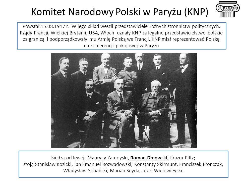 Komitet Narodowy Polski w Paryżu (KNP) Siedzą od lewej: Maurycy Zamoyski, Roman Dmowski, Erazm Piltz; stoją Stanisław Kozicki, Jan Emanuel Rozwadowski