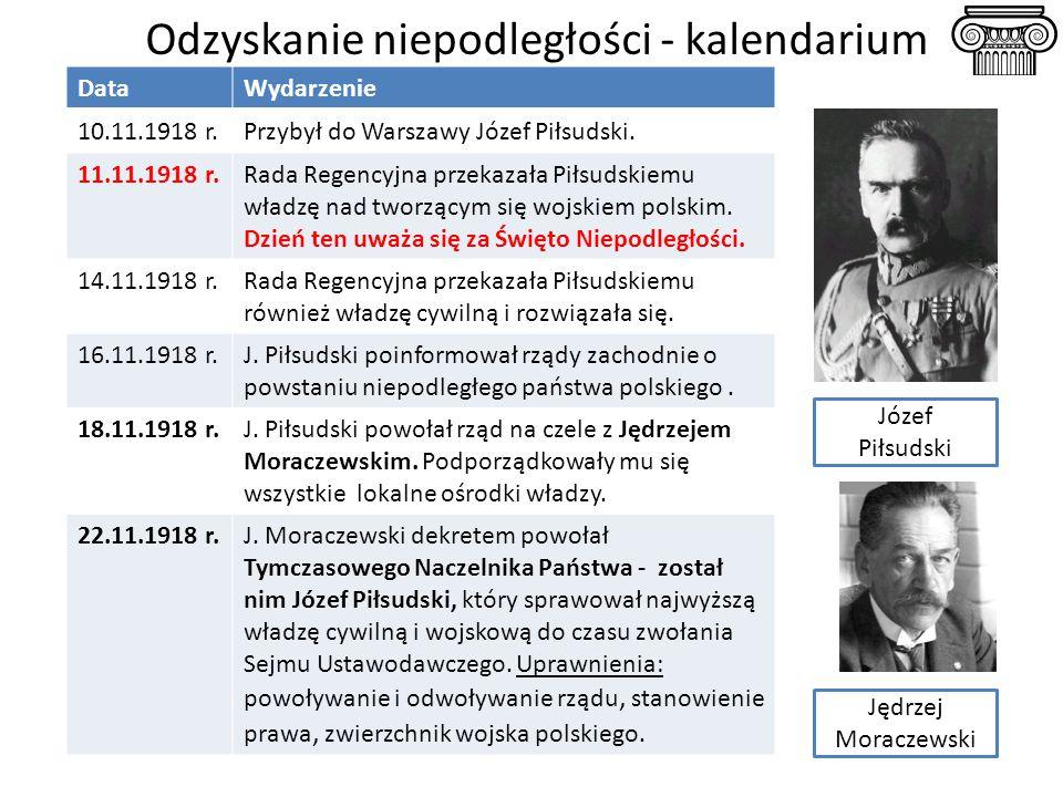 Odzyskanie niepodległości - kalendarium Józef Piłsudski DataWydarzenie 10.11.1918 r.Przybył do Warszawy Józef Piłsudski. 11.11.1918 r.Rada Regencyjna