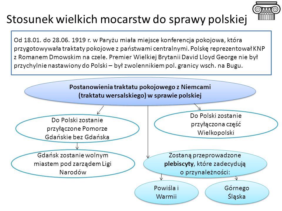 Stosunek wielkich mocarstw do sprawy polskiej Od 18.01. do 28.06. 1919 r. w Paryżu miała miejsce konferencja pokojowa, która przygotowywała traktaty p