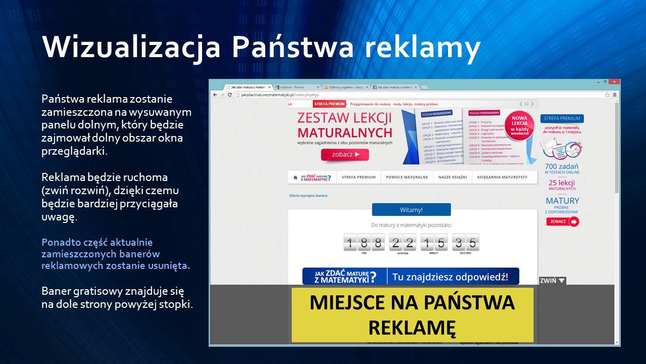 Wizualizacja Państwa reklamy Państwa reklama zostanie zamieszczona na wysuwanym panelu dolnym, który będzie zajmował dolny obszar okna przeglądarki.